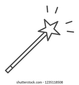 Magic wand thin line icon. Star on stick vector illustration isolated on white. Miracle outline style design, designed for web and app. Eps 10