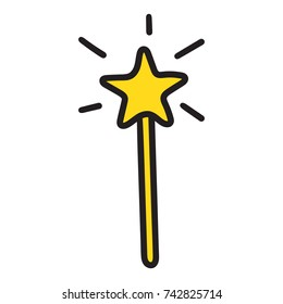 Magic wand. Vector hand drawn icon illustration on white background.
