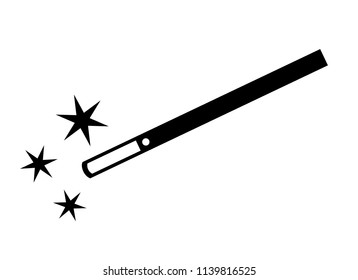 Magic wand vector icon on white background