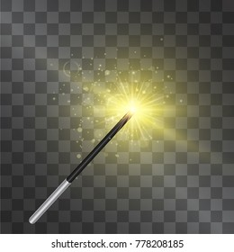 Magic wand. Vector isolated on transparent background. Wizard outfit accessorie, fairy tale spell stick with warm glittering miraculous light and stardust. Abracadabra conjuration toy.