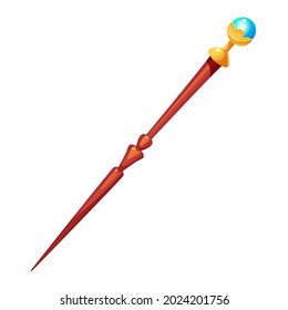 Magic Wand.Carved wooden magic wand decorated with gold and crystal.Witchcraft stuff