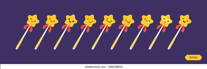 Magic wands with golden stars with different emotions.