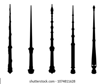 Magic wands set. Wizard tool. Wooden stick collection. Black contour isolated on white background. Vector illustration
