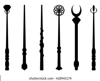 Magic wands. Silhouette on a white background. Wizard tool. Vector illustration.