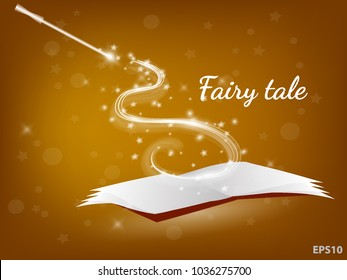 Magic waves from the book of fairy tales and magic wand. Vector illustration.