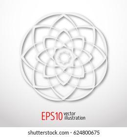 Magic white lotus in circle 3d . Sacral geometry figure. Scandinavian, celtic or eastern style illustration. Enigmatic karma design.