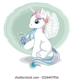 Magic white unicorn with wings, pink and blue mane, tail, blue eyes and butterfly. The picture in hand drawing style, can be used for t-shirt print, wear fashion design, greeting card, baby shower