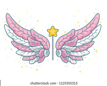 Magic wings in cute little princess style, pink and grey palette. Wide spread angel wings and magic wand with star dust. Vector illustration isolated on white.