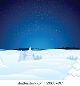 Magic Winter Christmas Landscape Vector Xmas Card for Your Text and Design.