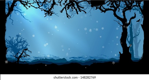 Magic Winter forest vector background
