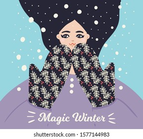 magic winter/ woman catching snowflakes/ vector template for poster/card/banner/cover and other