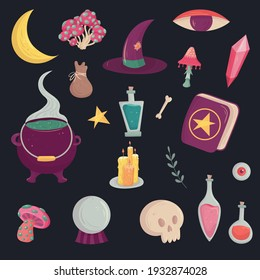 Magic witch set for concept design. Cartoon vector illustration. Mystery elements. Witchcraft supply asset.