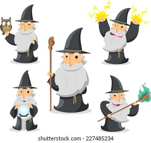 Magic Witch Wizard in action With owl and crystal ball vector illustration.