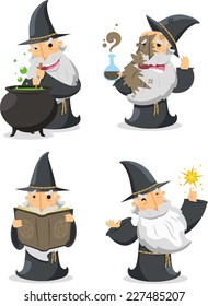 Magic Witch Wizard With long white magician beard vector illustration.