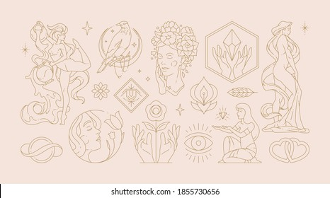 Magic woman boho vector illustrations of graceful feminine women and esoteric symbols set. Mysterious and witchcraft line art design elements. Bohemian silhouettes for greeting card, logo or poster.
