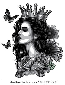 Magic woman and butterfly tattoo and t-shirt design. Symbol of a retro, queen, princess, lady.