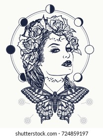 Magic woman and butterfly tattoo and t-shirt design. Symbol of a retro, queen, princess, lady. Glamourous vintage art