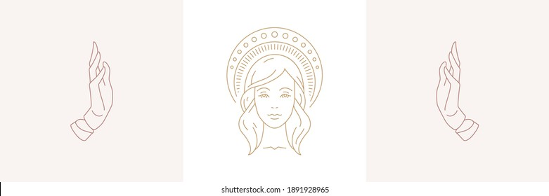 Magic woman face with halo and female praying hands gestures in boho linear style vector illustrations set. Elegant bohemian emblems line art feminine symbols for mystic logo and cosmetic packaging