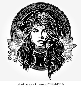 Magic woman tattoo and t-shirt design. Mystical fortune teller of destiny. Symbol of the occult, esoteric, magic. Female shaman