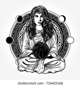 Magic woman tattoo and t-shirt design. Girl in lotus pose. Symbol meditation, philosophy, astrology, magic, yoga