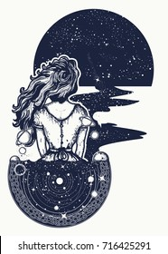 Magic woman tattoo and t-shirt design. Surreal girl sinks in universe. Symbol of magic, poetry, esoterics, astrology