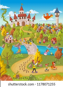 Magic world with fairy tale characters.
