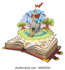 Magic world of tales, fairy castle appearing from the old book, cartoon vector illustration