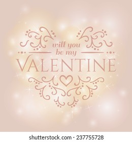Magical background with colorful lights Will you be my Valentine with floral ornament. Vector illustration