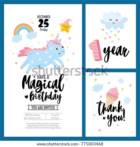 Magical Birthday Cards Set With Unicorn Fantasy And Lovely Collection Poster Postcard