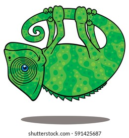 Magical Chameleon. Vector cartoon illustration of a magical chameleon hanging from his own tail, levitating in the air.