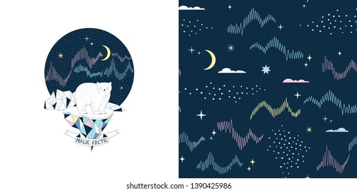 Magical childish fashion textile graphics set with t-shirt print and accompanied tileable background. Polar Bear on iceberg with Northen lights and mountain landscape illustration. Night sky with