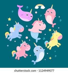 Magical creatures. Narwhal, unicorn mermaid, pegasus vector illustration