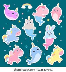 Magical creatures. Narwhal, unicorn mermaid,bunny mermaid, cat mermaid pegasus stickers vector illustration
