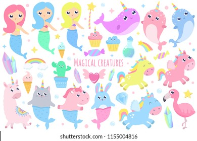 Magical creatures. Narwhal, unicorn mermaid,bunny mermaid, cat mermaid, pegasus, magical items vector illustration