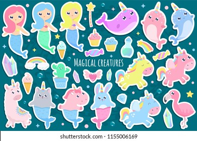 Magical creatures. Narwhal, unicorn mermaid,bunny mermaid, cat mermaid, pegasus, magical items stickers vector illustration