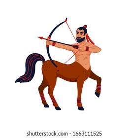 Magical creatures set. Mythological creature - centaur. Flat style vector illustration isolated on white background