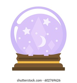 Magical crystal ball isolated on white background, vector illustration.