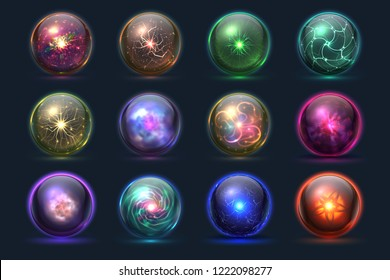 Magical crystal orbs. Glowing magic balls, mysterious paranormal wizard spheres. Vector set
