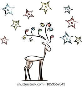 magical deer and stars around
