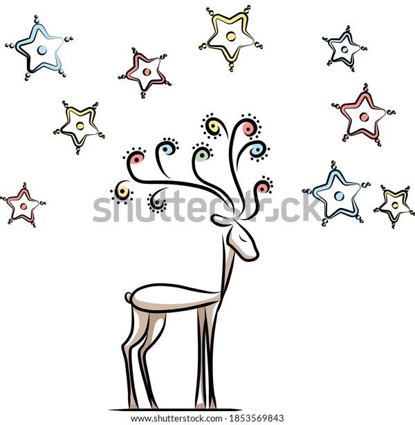 magical-deer-stars-around-600w-185356984