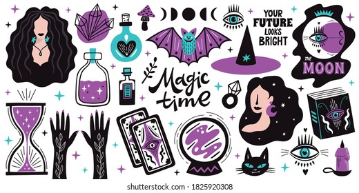 Magical doodle witch illustration icons set. Magic and witchcraft, witch esoteric alchemy elements. Vector illustration