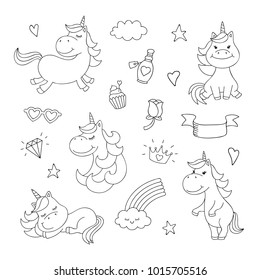 Magical doodles with unicorn clouds cupcake diamond vector set