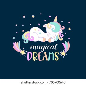 Magical dreams lettering from unicorns.. Vector illustration for you design.