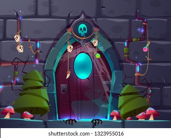 Magical entrance or portal in fantasy world cartoon vector. Mystic amulets and potions hanging on wooden doors in stone wall with mysterious gloving light shinning from gaps illustration. Quest room