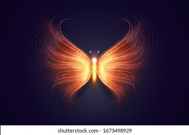 Magical fire butterfly, composed from light particles. Vector illustration.