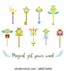 Magical girl cute power wand set on white background.  Different shapes. Watercolour imitation.