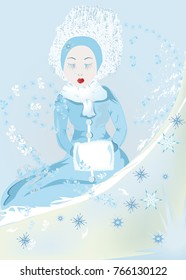 A magical ice girl in a blue winter coat,cartoon character