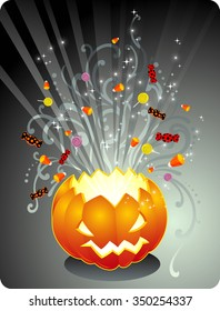 Magical Jack O Lantern-Halloween lantern bursting with candies treat