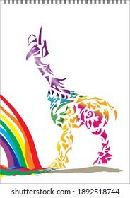 magical multi-colored unicorn (giraffe) stands near the rainbow