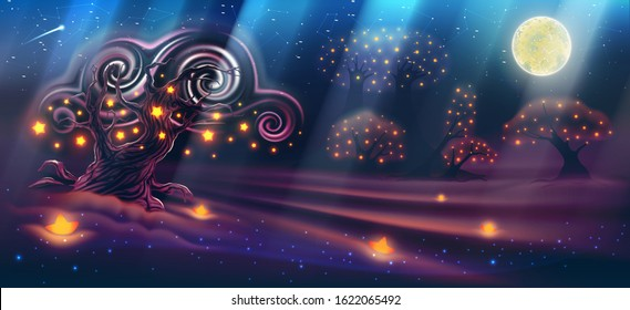 A magical night landscape with a fantasy forest, dark trees, a moon with rays of light, sky, clouds, paradise, luminous stars, an evening beautiful nature backdrop like a panorama. Vector illustration